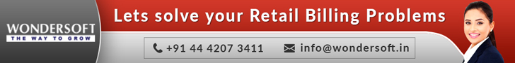 A Rectangular Box In Grey And Red Shades, The Retail Inventory Management Billing Solutions Provider's Logo, Text And Contact Details Mentioned